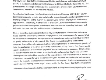 Clay County Economic Development Incentive for Business and Industry Approved!