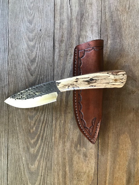 handmade collectible spalted maple utility knife with cowhide sheath
