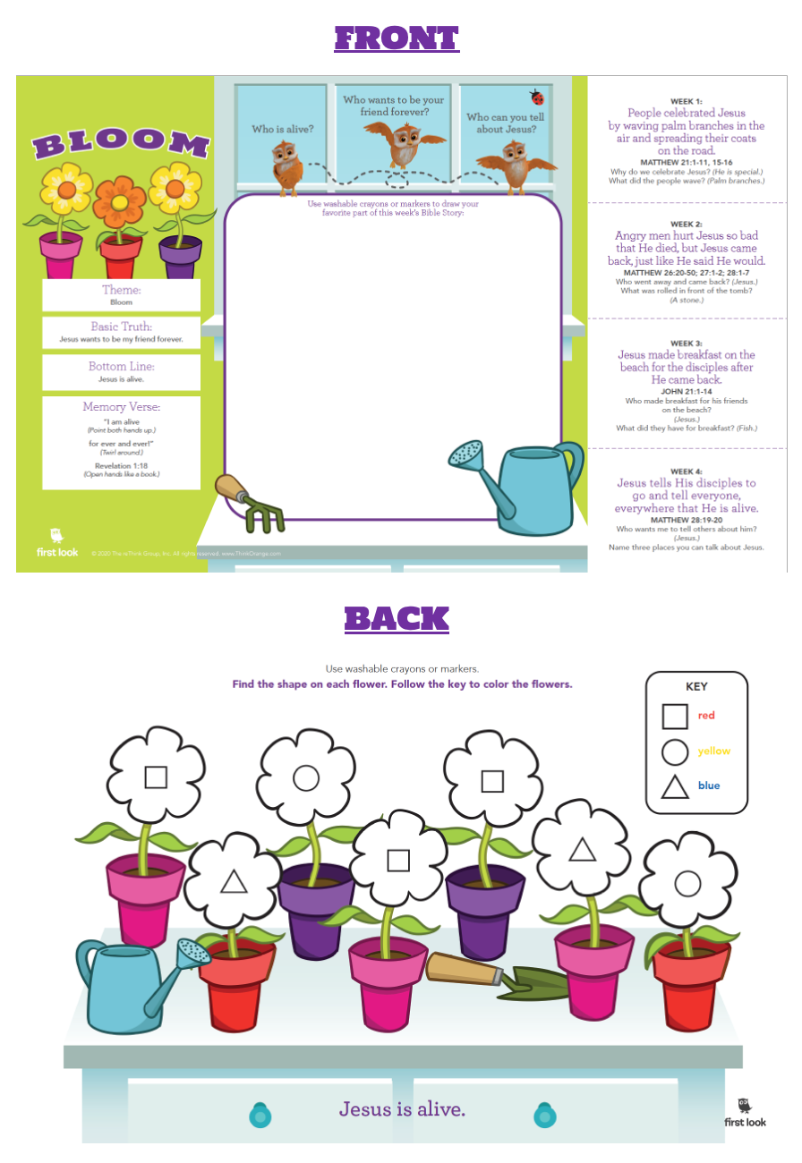 This printable placemat is designed to sit on the table all month long. These give you easy access to this month's bottom line as well as questions to ask each week and hand motions to the Bible verse.