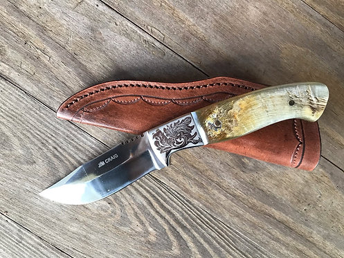 Rams Horn Clip Point Hunting Knife