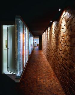 Wood Accent Wall in Corridor