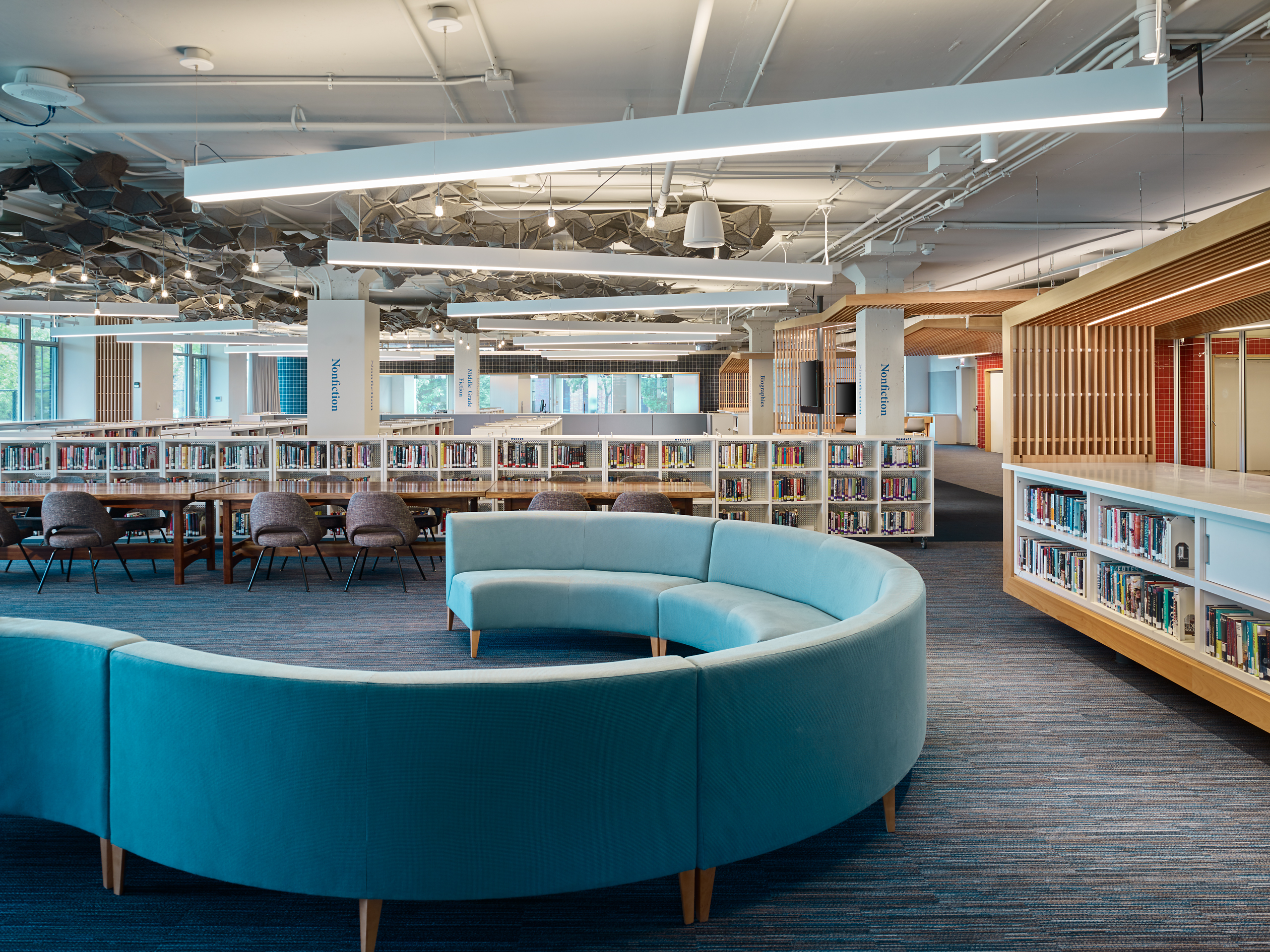 Library with Felt Cloud Ceiling