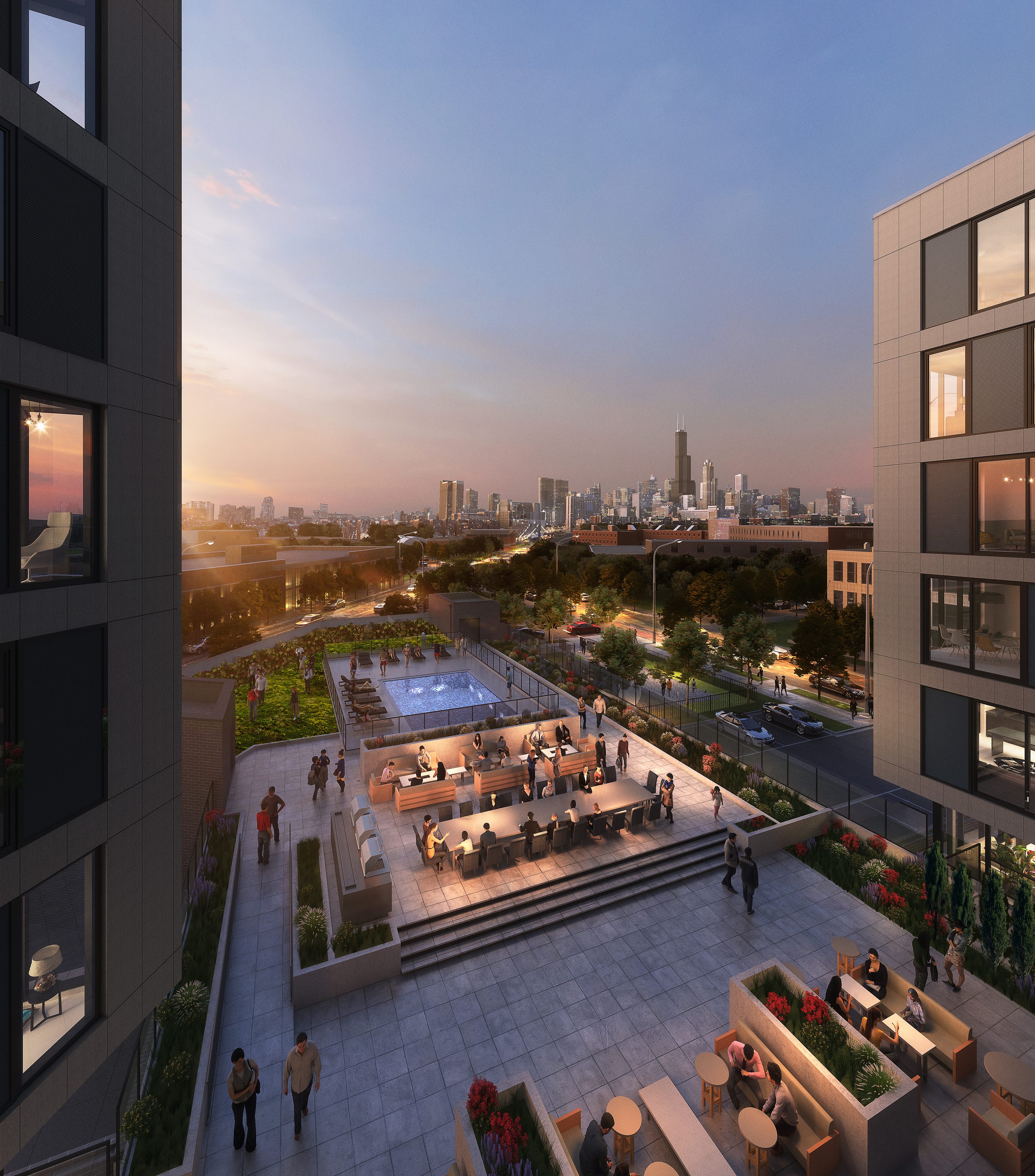 Rendering of the amenities roof deck with view to the northeast