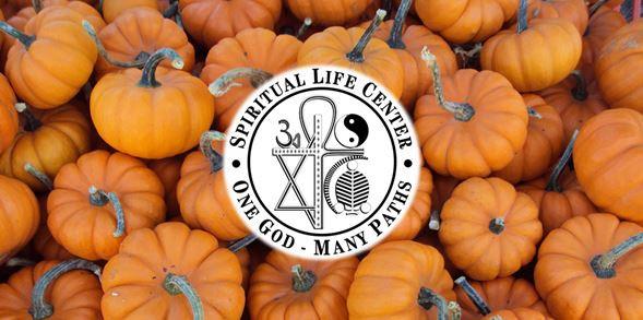 Spiritual Life Center logo with pumpkins