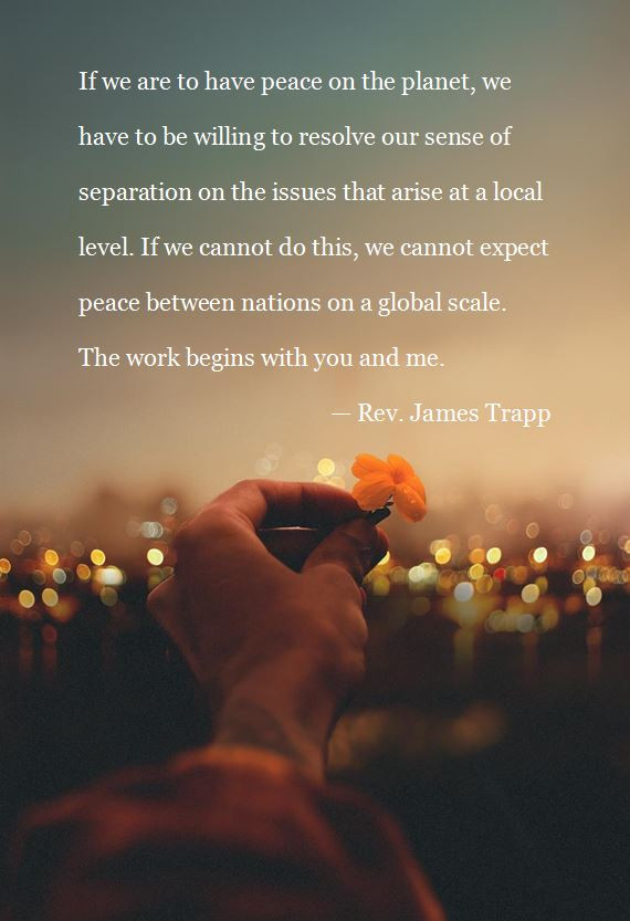 """Rev. James Trapp quote """"The work begins with you and me."""""""
