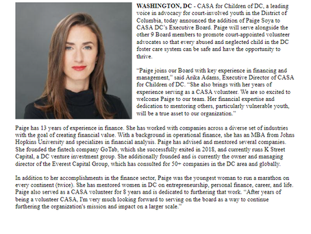 Paige Soya, former CASA volunteer and financial analyst, appointed to CASA DC's Executive Board