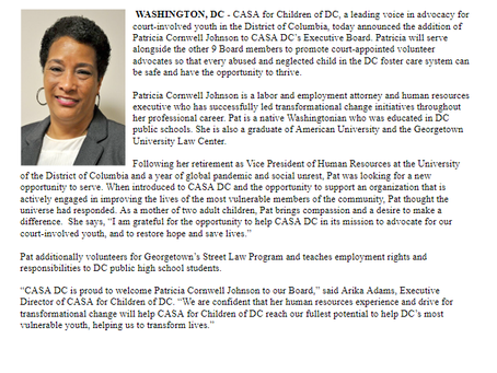 Patricia Cornwell, labor and employment attorney, appointed to CASA DC's Executive Board