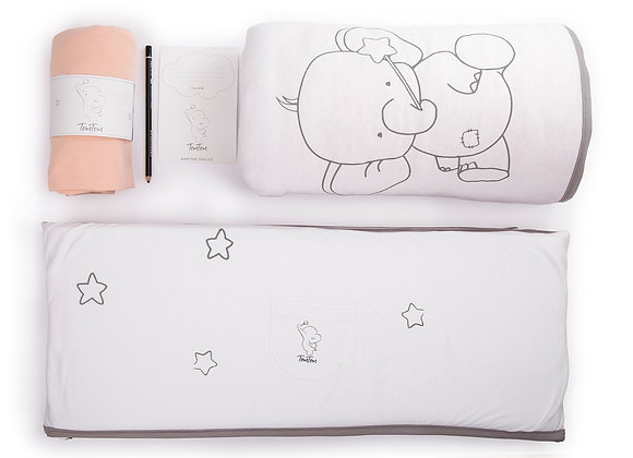 מגן ראש, סדין למיטת תינוק ושמיכת תינוק מפנקת בצבע אפרסק תום תום