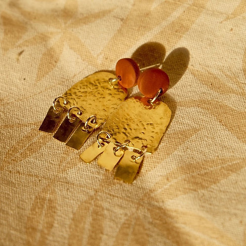 Small Red Clay and Brass Earrings