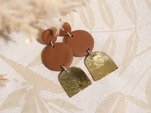 Double Red Clay Circle Brass Earrings