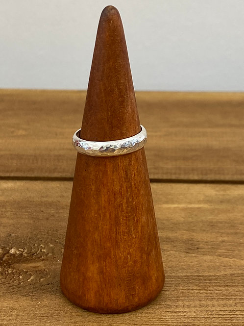 D-Shape Small Hammered Ring