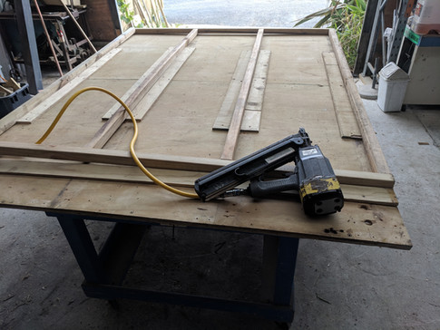 Wooden framing being made