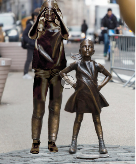 Fearless girl with mom (NYC)