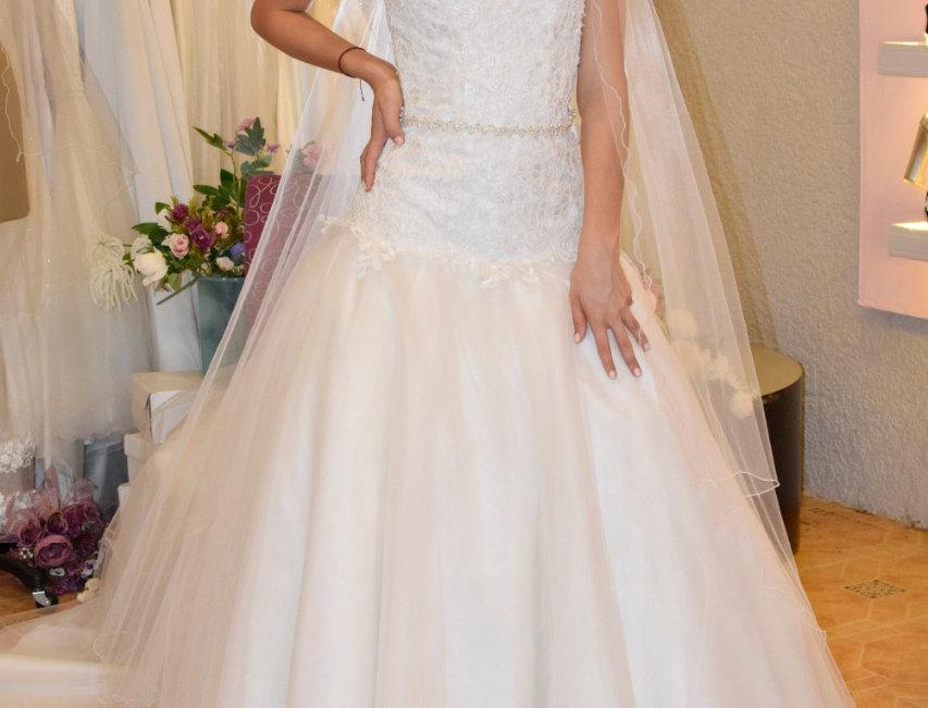 Vestido de Novia en tules champange y hueso y bordado en talle en tul sutache