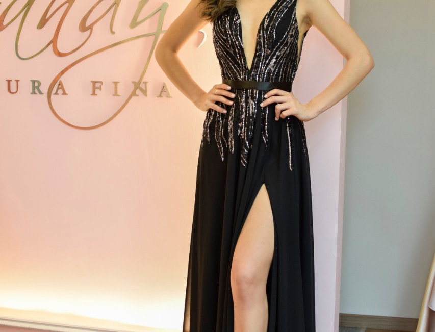 Vestido de fiesta en tul sequins negro/plata y falda de chifón