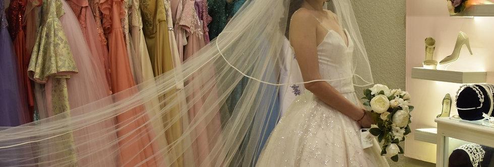 Vestido Novia en tul sequins con glitter