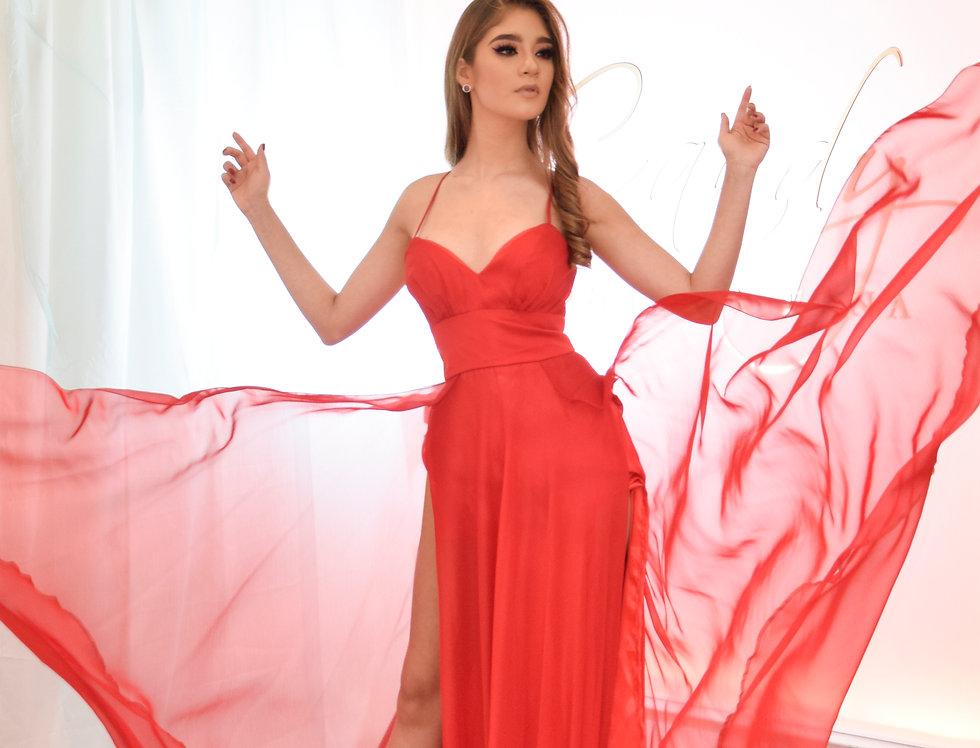 Vestido fiesta shifon rojo