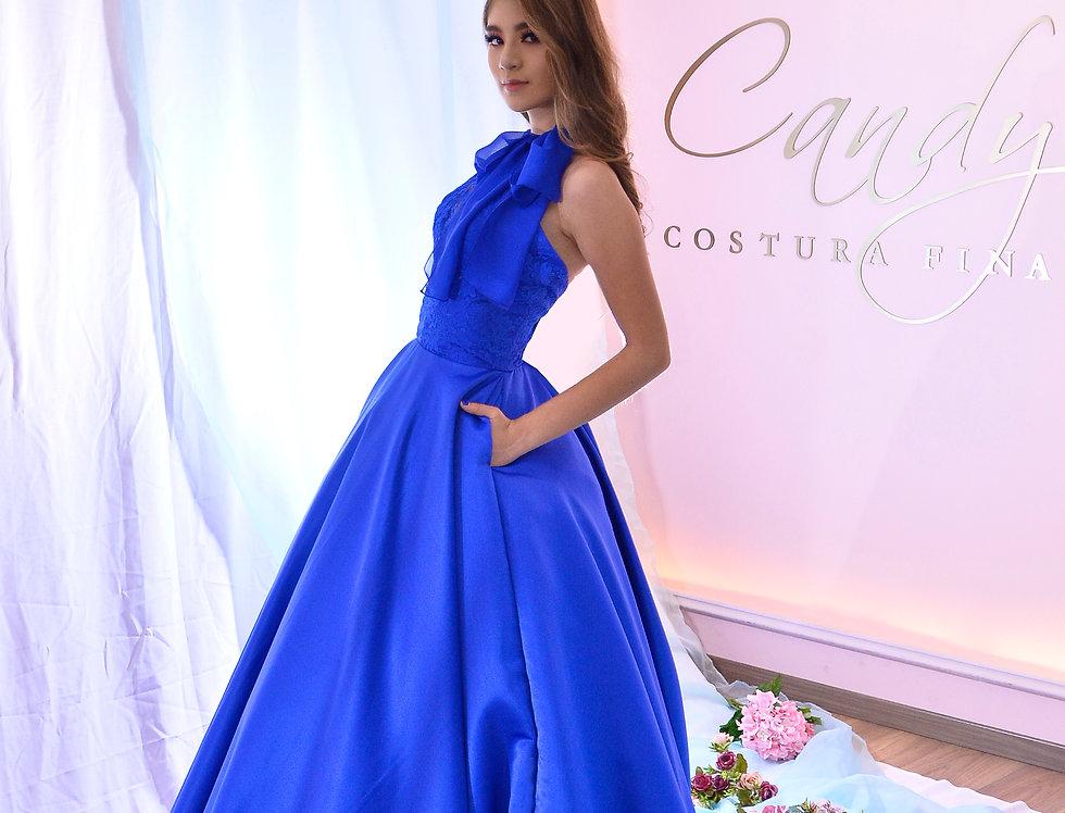 Vestido de fiesta raso azul rey con encaje chantilly