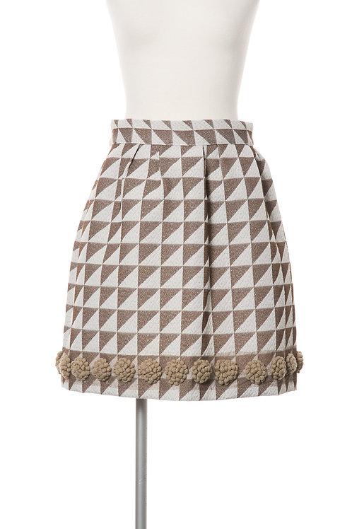 ジオメトリックスカート Geometric  pompon skirt