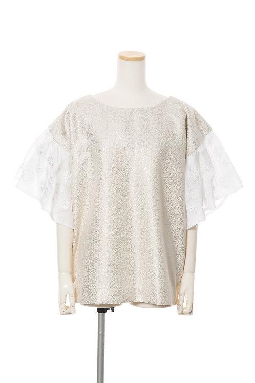 <手振刺繍>ドットホワイト Embroidered dot stitch top jacquard