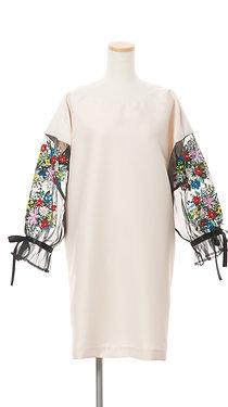 <手振刺繍> シルクオーガンジーフラワーワンピース オフホワイト Flower garment