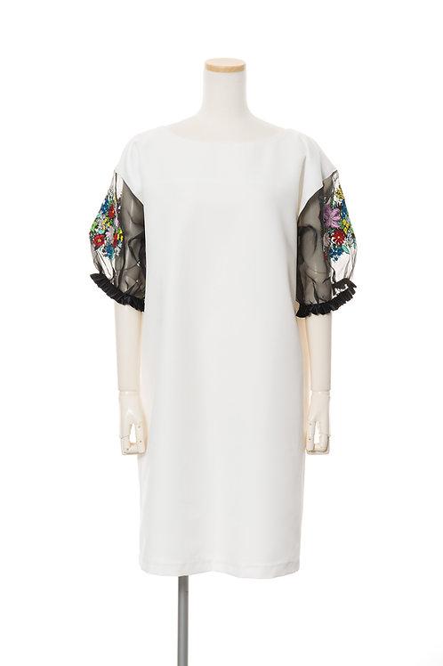 <手振刺繍>フラワーガーメント Flower Garment Half Sleeve