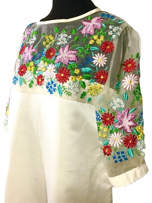 <手振刺繍>オーガンジーレース刺繍ドレス Embroidered organdy silk lace dress