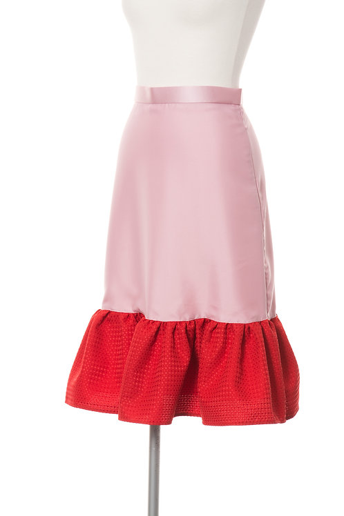フレアドッキングスカート レッド×ピンク Flare Skirt