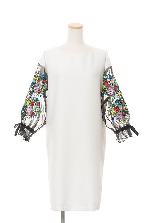 <手振刺繍> シルクオーガンジーフラワーワンピース ピュアホワイト Flower garment