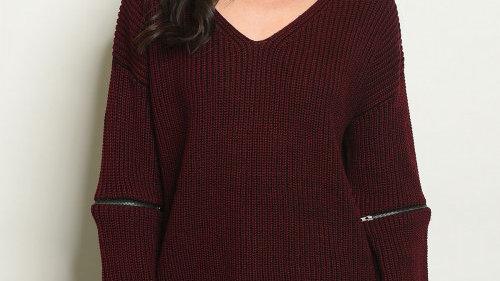 Burgundy Choker Sweater