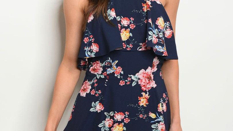 Navy Floral Ruffle Dress