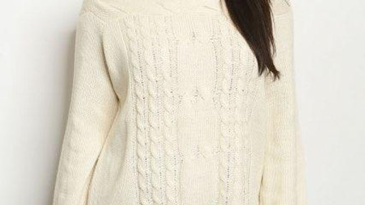 Cream Boat Neck Sweater