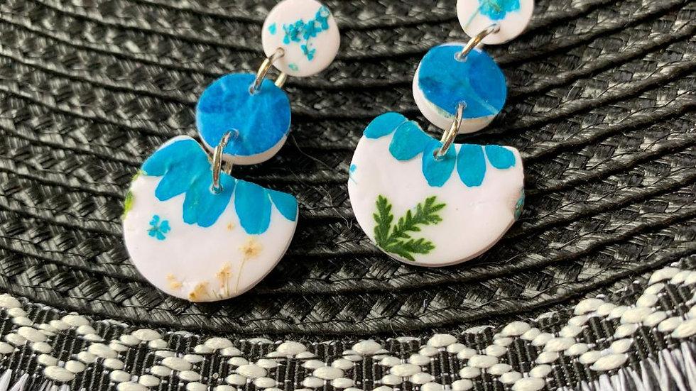 Blue Floral Amy Dangles