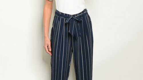 Navy Striped Cropped Pants