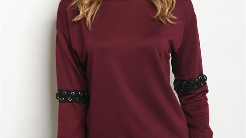 Burgundy Lace Up Sleeve Top