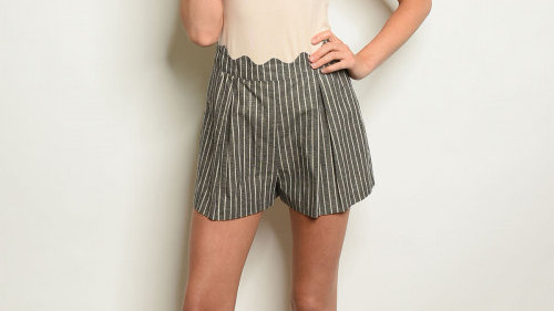 Charcoal Striped Short