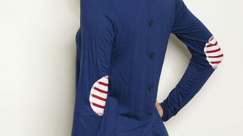 Navy Top With Elbow Patches