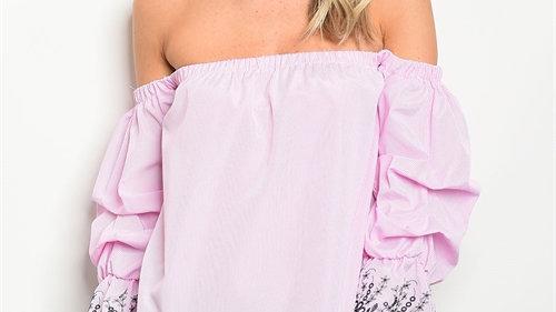 Pink & White Off Shoulder Top