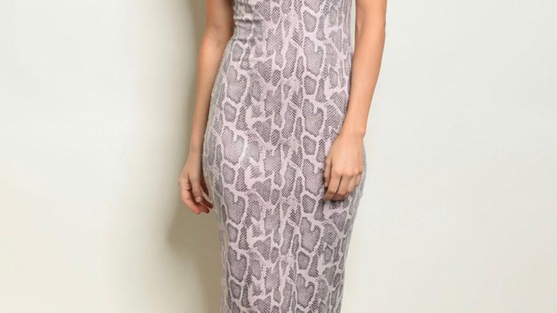 Pink Snake Print Fitted Dress