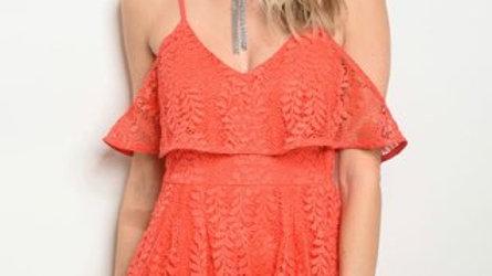 Coral Crochet Romper
