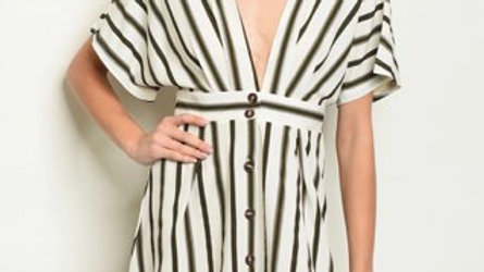 Ivory Olive Striped Dress
