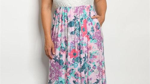 Lace Floral Maxi Dress