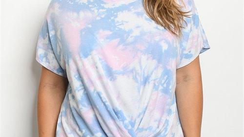 Pink & Blue Tie Dye Top
