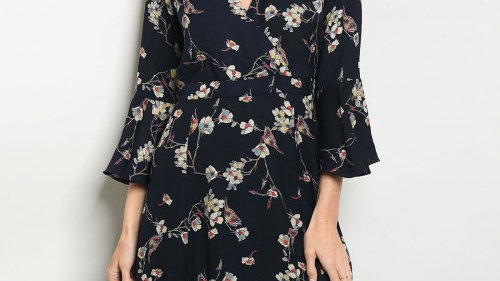 Navy Floral Bell Sleeved Dress