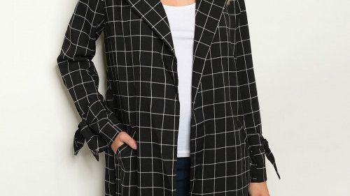 Black and White Checkered Trench Jacket