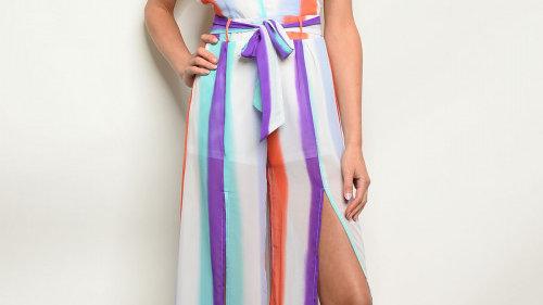 Multi Colored Striped Jumpsuit