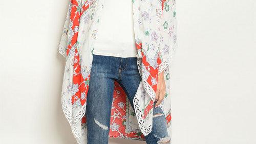 White & Red Print Kimono