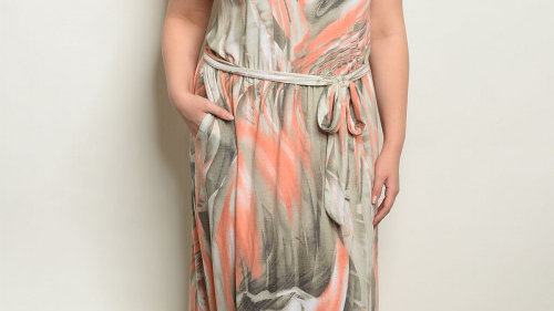 Coral & Olive Marbled Dress