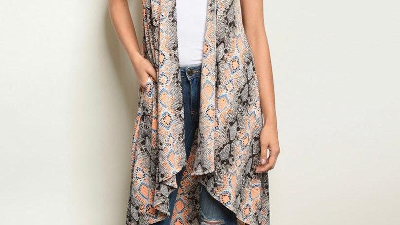 Orange & Blue Snake Print Kimono