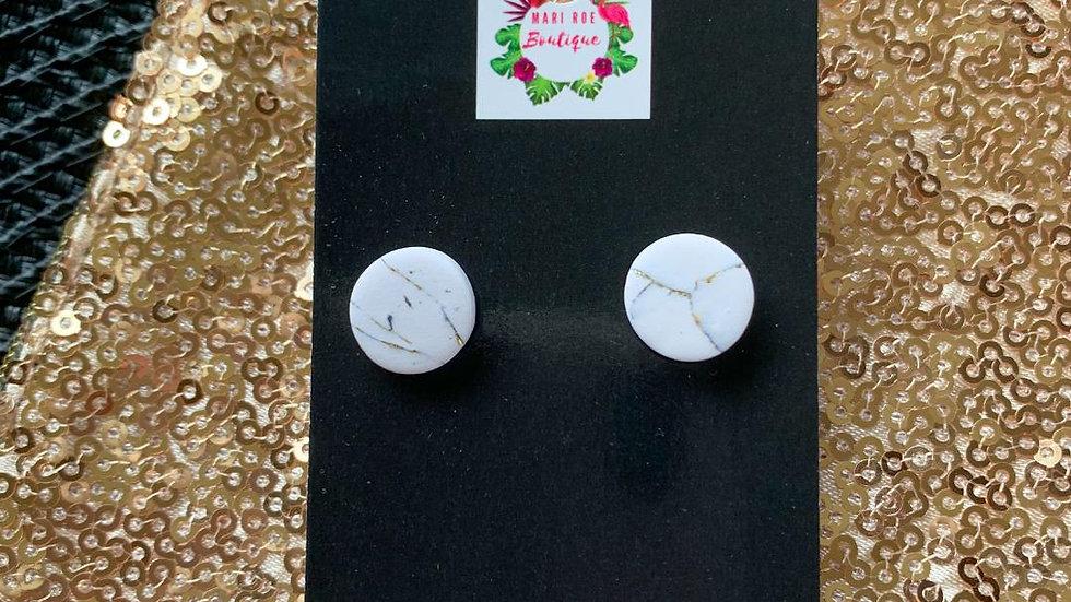 White Marble Alivia Studs- Restock